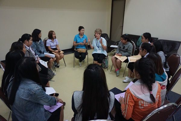 Janis Rowberry teaching psychology students at Chiang Mai (Thailand) University, a therapy technique